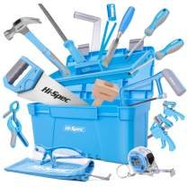 Hi-Spec 25 Piece Beginner Carpentry Tool Set with Tool Box, Wood Carving Tools, 3/4 inch Wood Chisel & Wooden Mallet, Half Round Rasp, Hand Saw, Hacksaw & Woodworking Tools for Kid & Young Carpenters
