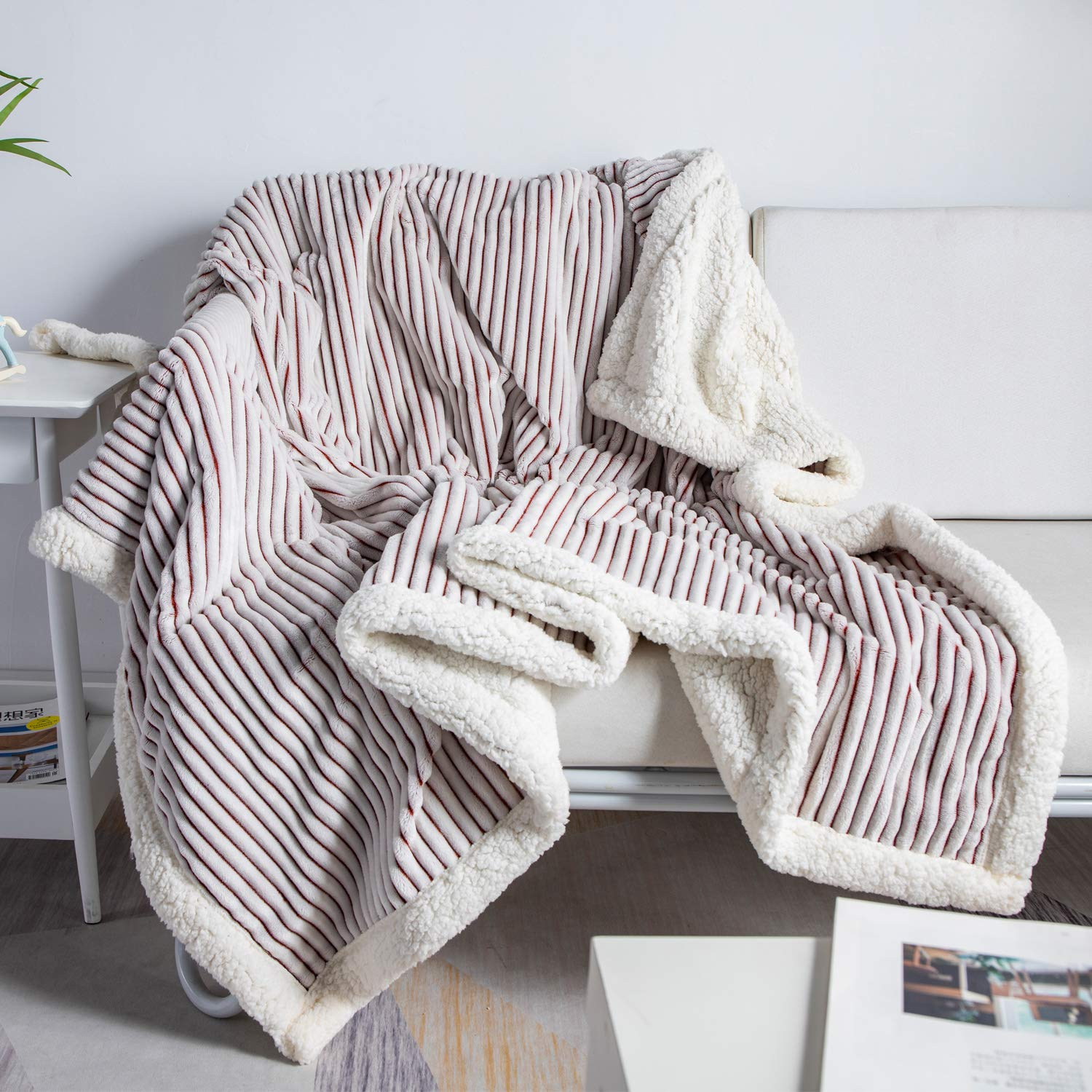 """DISSA Sherpa Fleece Blanket Throw Blanket Soft Blanket Plush Fluffy Blanket Warm Cozy with Brown and White Strip Perfect Throw for All Seasons for Couch Bed Sofa (Brown, 51"""" x63'')"""