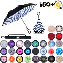 ABCCANOPY Inverted Umbrella,Double Layer Reverse Rain&Wind Teflon Repellent Umbrella for Car and Outdoor Use, Windproof UPF 50+ Big Straight Umbrella with C-Shaped Handle,blue strips
