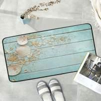 Naanle Ocean Seashell Anti Fatigue Kitchen Floor Mat, Wooden Seashell Non Slip Absorbent Comfort Standing Mat Kitchen Runner Rug for Hallway Entryway Bathroom Living Room Bedroom 39 x 20 Inches