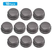 "Black Malleable Iron Cast Pipe Fitting Cap, Home TZH 10 Pack 1"" Black Pipe Caps for Steam-punk Vintage Shelf Bracket DIY Plumbing Pipe Decor Furniture(10, 1"")"