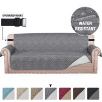 """Quilted Sofa Cover Protector Couch Cover Water Repellent Sofa Slipcover for Pets Dogs Furniture Protector Cover for 3 Cushion Couch, Non-Slip Thick Strap (Sofa 70"""", Reversible Grey/Beige)"""