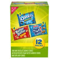 Nabisco Snack Pack Variety Mini Cookies Mix with Oreo Mini, Mini Chips Ahoy! & Nutter Butter Bites, 12 oz, 12 Pack