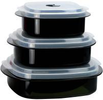 Calypso Basics by Reston Lloyd 6-Piece Microwave Cookware, Steamer and Storage Set, Black