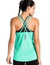 Meliwoo Women's Activewear Cool Mesh Workout Tank Tops with Cross Back Green M