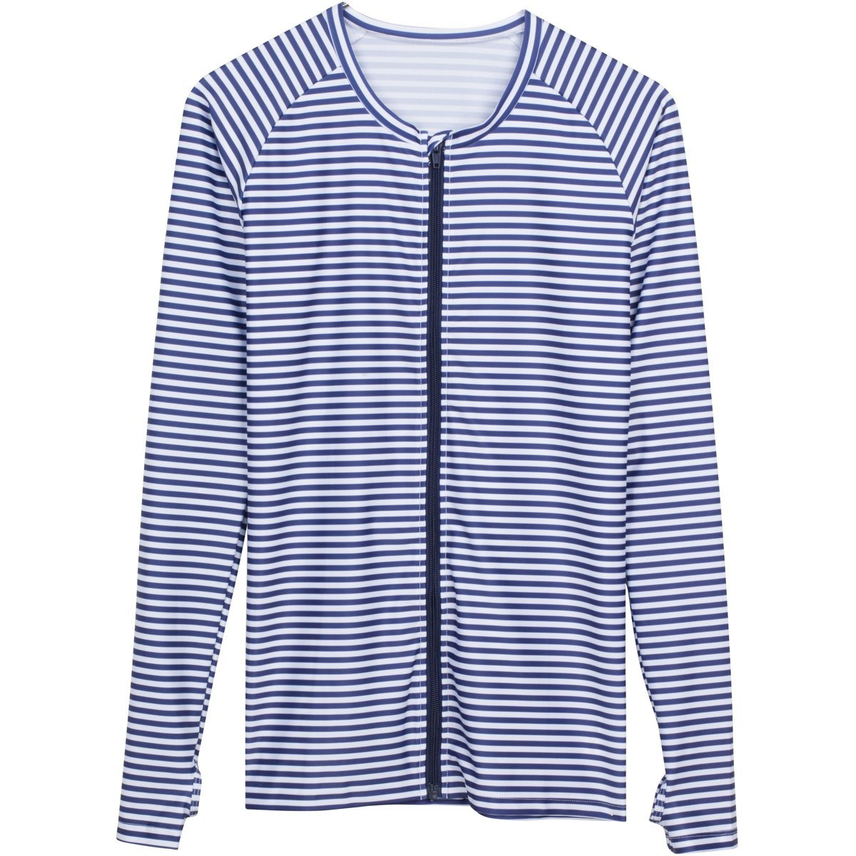 SwimZip Women's Long Sleeve Rash Guard Zip Swim Shirt SPF 50+