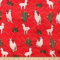 Telio Picasso Rayon Poplin Llama Fabric, Red, Fabric By The Yard