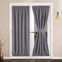 SHEEROOM French Door Curtains, Thermal Insulated Drapes Rod Pocket Blackout Privacy Panel for Living Room Patio Glass Door Window with Tieback Set of 2 Panels, 54 x 72 inch, Grey