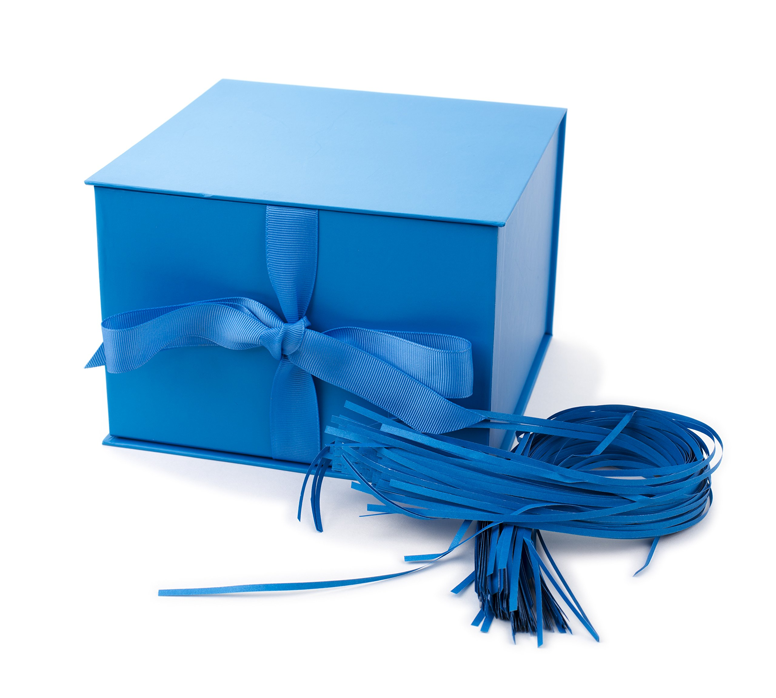 """Hallmark 7"""" Gift Box with Lid and Paper Fill (Blue) for Father's Day, Birthdays, Baby Showers, Hanukkah, Christmas, Holidays and More"""