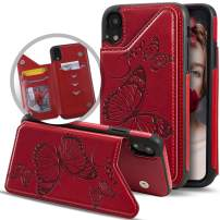 iPhone XS Max Case with Card Holder Wallet for Women/Girls,Vodico Cute Girly Butterfly Leather Slim Folio Flip Full Body Protective Magnetic Wallet Purse with Credit Card Slots&Stand Phone Cases (Red)