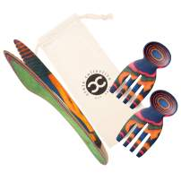 Crate Collective Salad Hands & Salad Tongs - Exotic Pakkawood Kitchen Salad Utensil Set For Serving & Tossing - Beautiful Wooden Construction + 100% Eco-friendly, BPA Free and Easy to Clean (Rainbow)