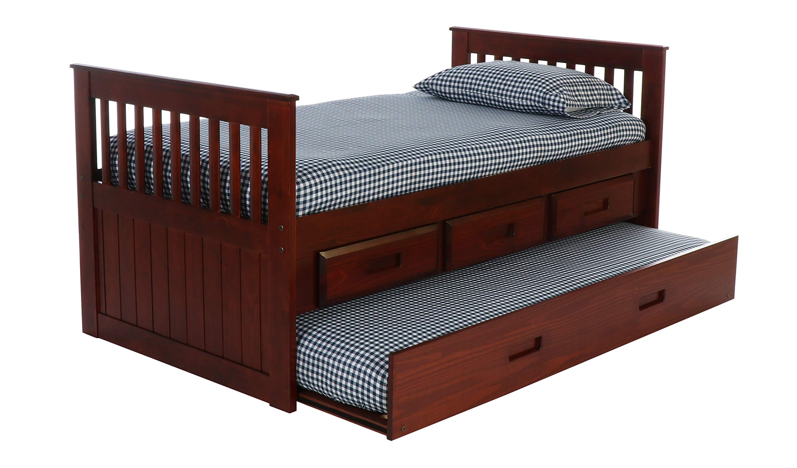 Discovery World Furniture with 3 Drawers and Twin Trundle Rake Bed, Merlot