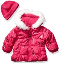LONDON FOG Girls' Quilted Puffer Jacket with Fleece Hat