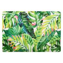 "LIVILAN Green Leaves Bath Rug Soft Memory Foam Non Slip Bath Mat, Shaggy Bathroom Floor Carpet, Absorbent Cozy Machine Washable and Dry, 16"" X 24"""