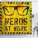"Ambesonne Retro Shower Curtain, Nerds at Work Grunge Fictional Sign Glasses Hazard Stripes Work Hard Theme, Cloth Fabric Bathroom Decor Set with Hooks, 75"" Long, Yellow Black"