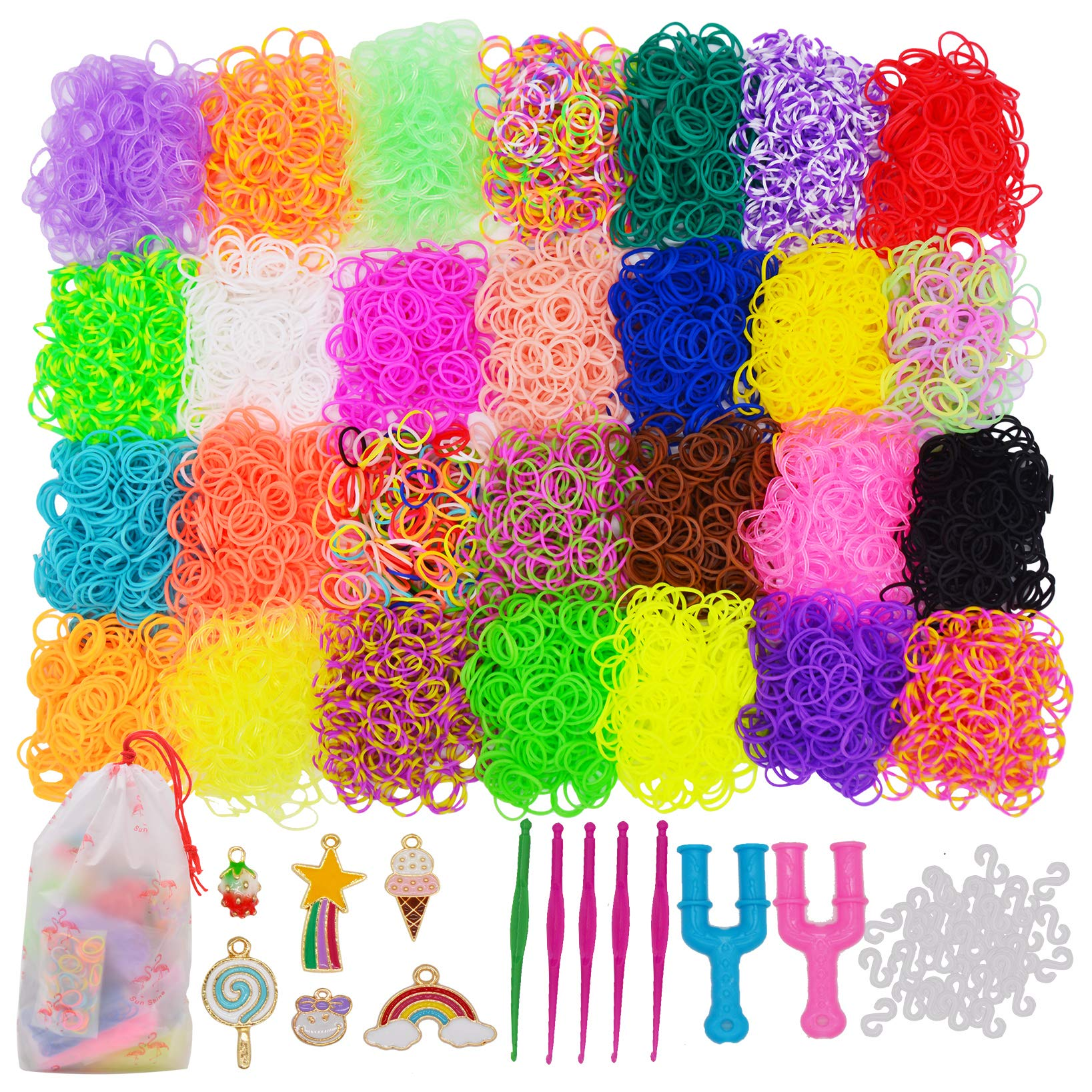 Rainbow Rubber Bands Loom Set 28 Colors Premium Loom Bands with S Clips,Y Looms,Crochet Hooks,Cute Pendants and Organizer Case