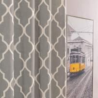 "jinchan Moroccan Tile Print Curtains for Living Room Curtain Quatrefoil Flax Linen Blend Textured Grommet Lattice Window Curtain Set for Bedroom Geometry 50"" W x 63"" L Charcoal Grey Set of 2 Panels"
