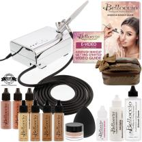 Belloccio Professional Beauty Deluxe Airbrush Cosmetic Makeup System with 4 Tan Shades of Foundation in 1/2 oz Bottles - Kit includes Blush, Bronzer and Highlighter and 3 Free Bonus Items, Video Link