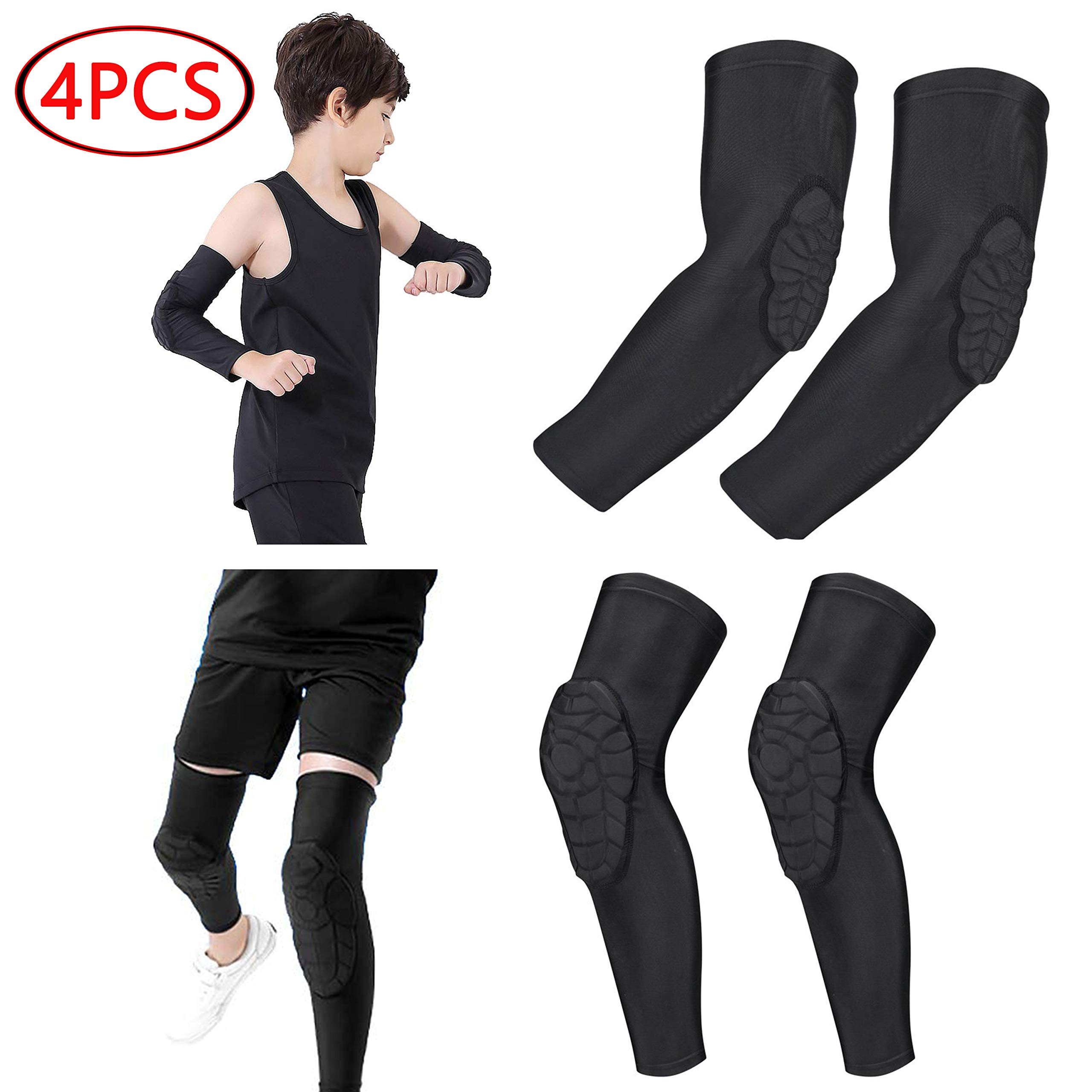 Rejolly Children 2 Pairs Elbow & Knee Compression Sleeves Honeycomb Pads Guards Sports Protective Gear for Cycling Football Volleyball Baseball for Youth Girls Boys