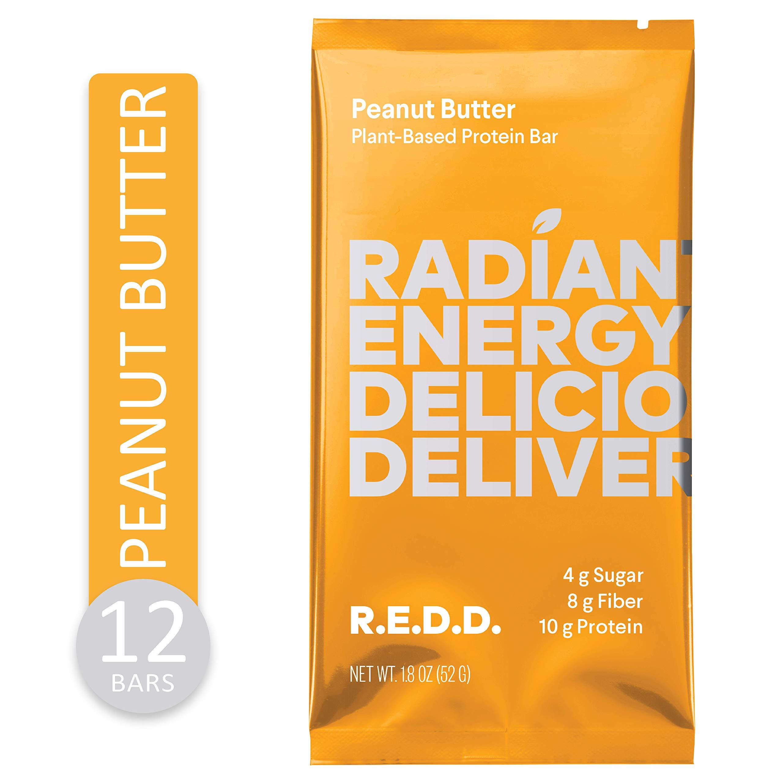 REDD Vegan Protein Bar - Peanut Butter - 12 Bars - Healthy Snack with 10g Plant-Based Protein, Low Sugar, Gluten-Free, Dairy-Free, High Fiber, Probiotics