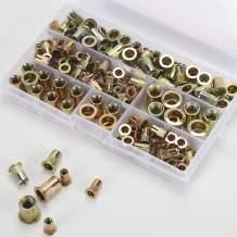 """145PCS Rivet Nuts Assortment, GTERNITY #8-32#10-24 1/4""""-20 5/16""""-18 3/8""""-16 UNC Nuserts Assorted Flat Head Rivnuts Threaded Insert Nut Kit, Carbon Steel"""