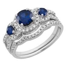 Round Gemstone & White Diamond Ladies 3 Stone Halo Bridal Engagement Ring With Matching Band Set, 14K White Gold