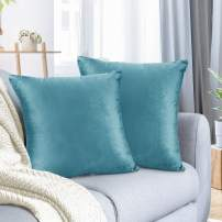 """Nestl Bedding Throw Pillow Cover 16"""" x 16"""" Soft Square Decorative Throw Pillow Covers Cozy Velvet Cushion Case for Sofa Couch Bedroom, Set of 2, Beach Blue"""
