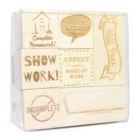 Teacher Engraved Wood Rubber Stamp Set - 3