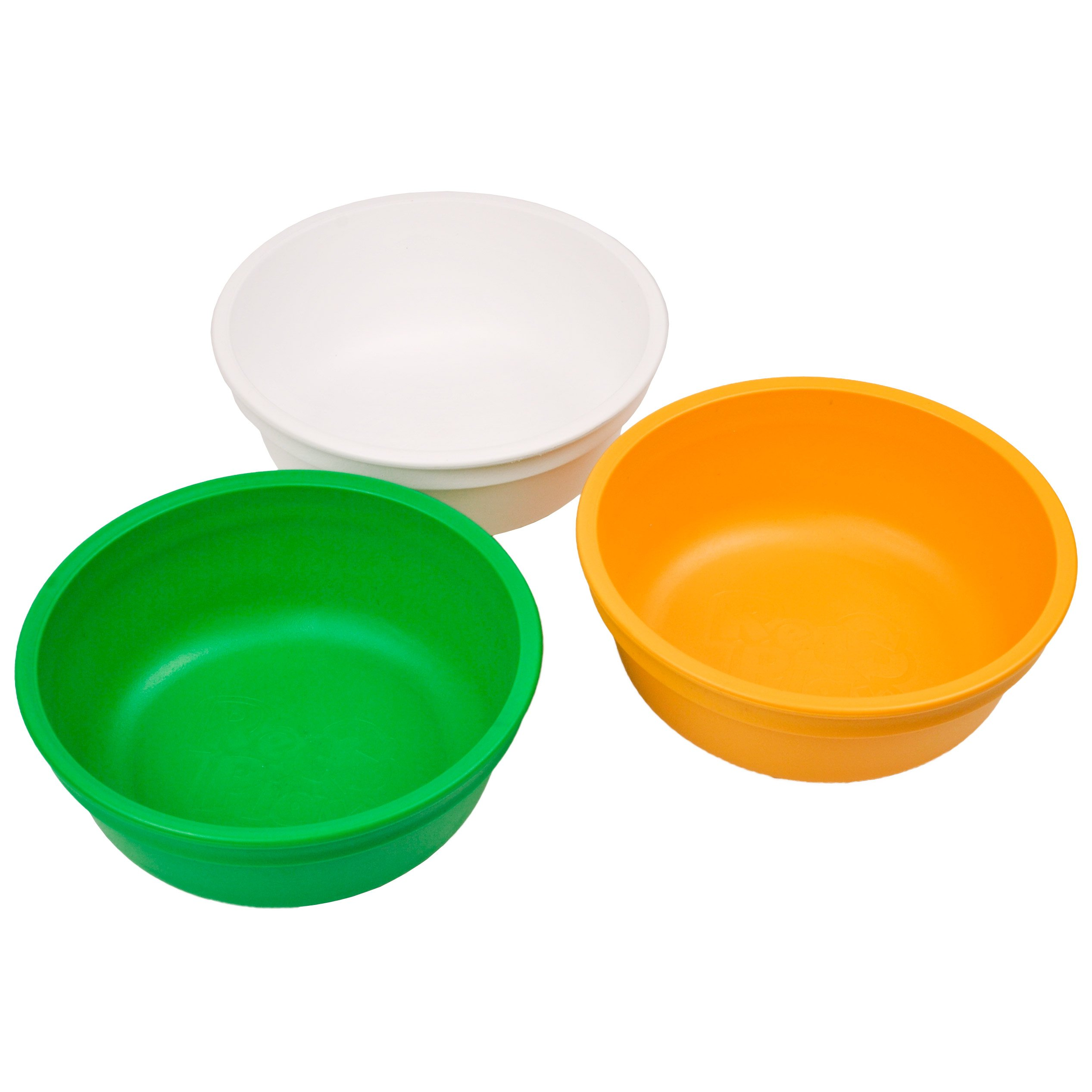 Re-Play Made in USA 3pk 12 oz. Bowls in White, Orange and Kelly Green   Made from Eco Friendly Heavyweight Recycled Milk Jugs and Polypropylene - Virtually Indestructible (St. Patrick's Day)