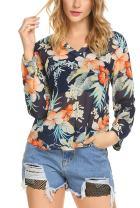 ELESOL Women's Floral Top V Neck Long Sleeve Chiffon Casual Blouse Shirt