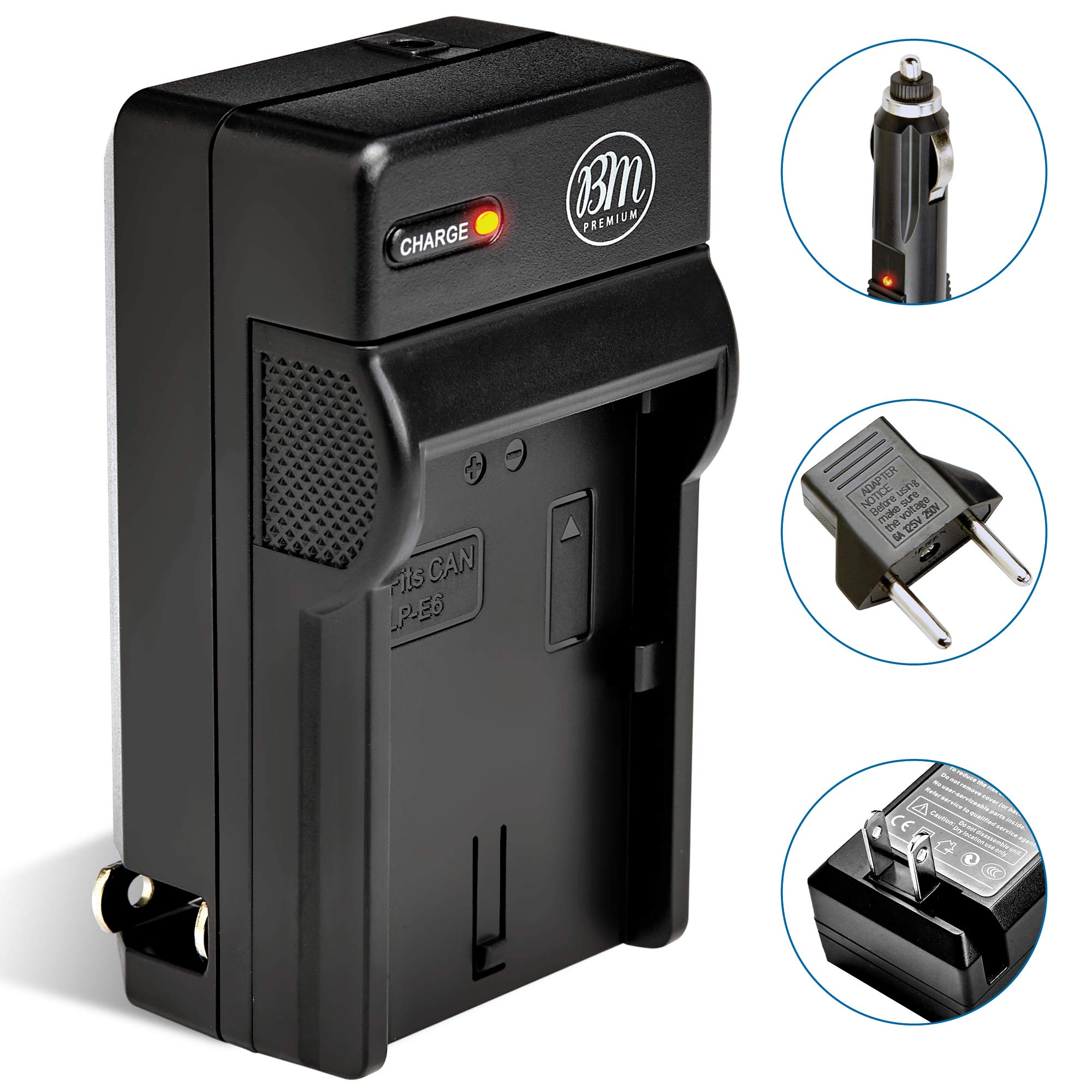 BM LP-E6N Battery Charger for Canon EOS R, EOS R5, EOS 90D, EOS 60D, EOS 70D, EOS 80D, EOS 5D II, EOS 5D III, EOS 5D IV, EOS 5Ds, EOS 6D, EOS 6D Mark II, EOS 7D, EOS 7D Mark II, C700, XC10 XC15 Camera