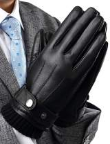 Mens Touchscreen Texting Winter Leather Gloves, Gift Warm Dress Driving Gloves Cold Weather Work Gloves