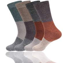 BambooMN Women's Rayon from Bamboo Fiber Classic Casual Crew Vintage 3 Color Stripe Socks