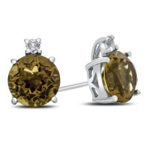 Finejewelers Solid 10k White Gold 7mm Round Center Stone with White Topaz Earrings