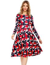 ELESOL Women's Christmas Santa Claus Print Pullover Flared A Line Swing Dress