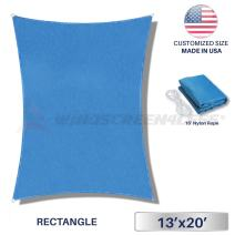 Windscreen4less Sun Shade Sail Ice Blue 13' x 20' Rectangle Patio Permeable Fabric UV Block Perfect for Outdoor Patio Backyard - Customize (4 Pad Eyes Included)
