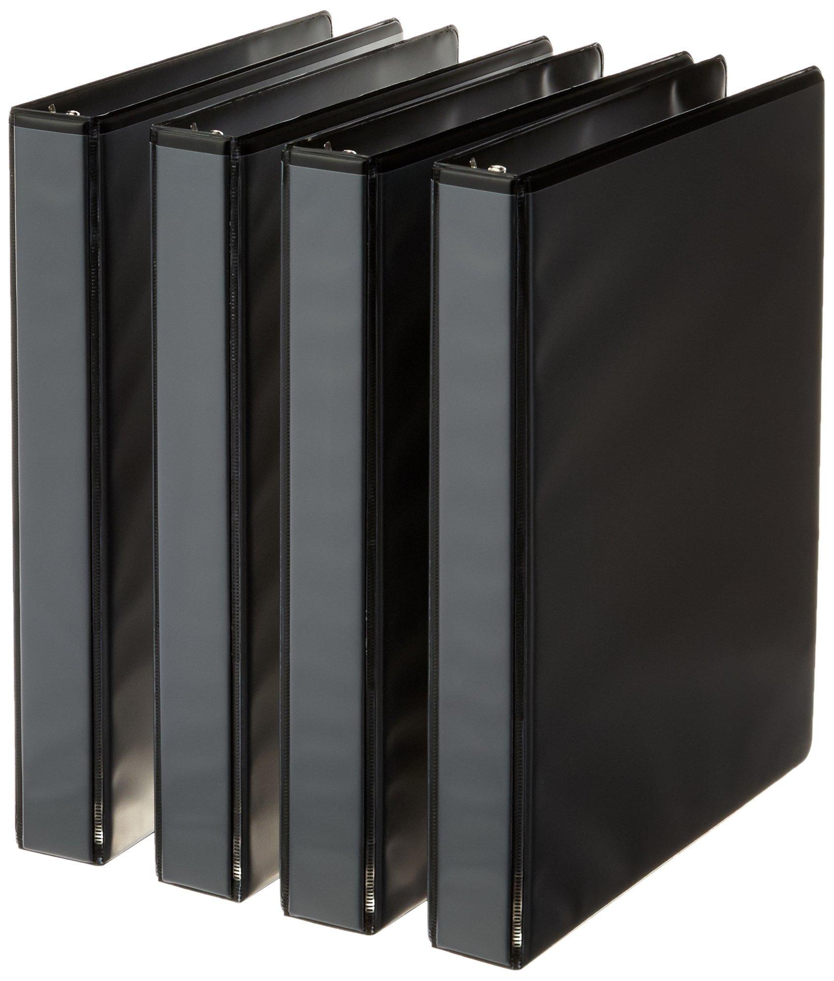 AmazonBasics 3-Ring Binder, 1 Inch - Black, 4-Pack