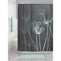 "iDesign Thistle Fabric Shower Curtain Water-Repellent and Mold- and Mildew-Resistant for Master, Guest, Kids', College Dorm Bathroom, 72"" x 72"", Gray and Mint Green"