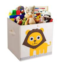 Murtoo Toy Bin Foldable Storage Cube Box Eco Friendly Fabric Toy Storage Cubes Organizer for Kids Toy Chest (Lion, 11'')