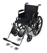 "Everest & Jennings Traveler L4 Lightweight Wheelchair, Flip-Back Full Arms & Elevating Legrests, 18x16"" Seat, Silvervein Color"