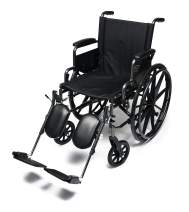 "Everest & Jennings Traveler L4 Lightweight Wheelchair, Adjustable-Height Desk Arms & Elevating Legrests, 18x16"" Seat, Silvervein Color"