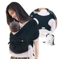 Konny Baby Carrier | Ultra-Lightweight, Hassle-Free Baby Wrap Sling | Newborns, Infants to 44 lbs Toddlers | Soft and Breathable Fabric | Sensible Sleep Solution (Black, XS)