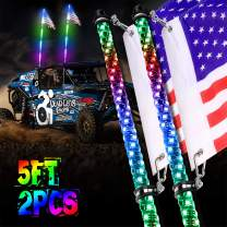 LED Whip Lights, OFFROADTOWN 2PCS 5FT Lighted Whips with Flag RF Remote Control Spiral Dancing/Chasing Light Antenna LED Whips for ATV UTV RZR Trucks 4X4 Buggy Dune