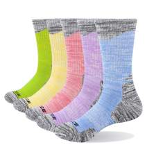 YUEDGE 5 Pairs Women's Cushion Cotton Crew Sports Athletic Hiking Socks