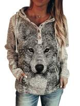 Akivide Pullover Wolf Hoodies for Women Women's Animal Print Casual Button Hooded Sweater