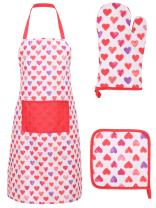 Livingston Aprons for Women with Pockets Kitchen Apron, Glove, and Potholder Set,Pink Purple Heart