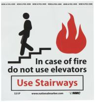 """NMC S31P Graphic See Sign, Legend """"In case of fire do not use elevators Use stairways"""", 7"""" Length x 7"""" Height, Pressure Sensitive Vinyl, Black/Red on White"""
