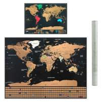 2 Pack Scratch Off World Map, Travel Map Poster US States with Country Flags (32 x 23 inch, 17 x 12 inch)