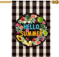 Baccessor Hello Summer Garden Flag Buffalo Plaid Check Yard Flag Fruits Flamingo Ice Cream Wreath Burlap Vertical Double Sided Outdoor House Home Decoration 28 x 40 Inch