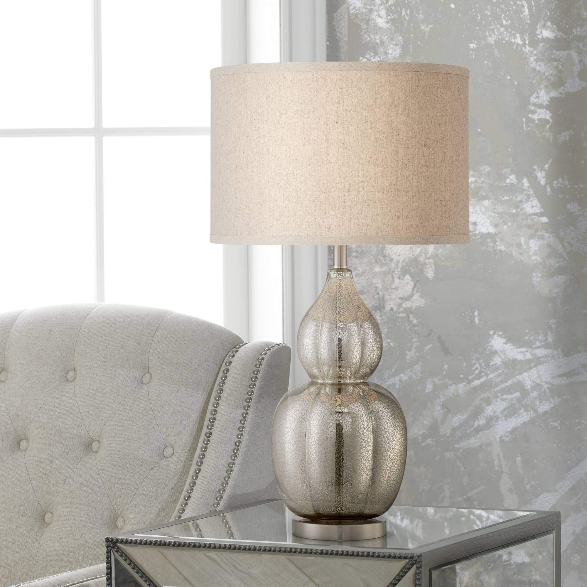 Jackie Coastal Table Lamp Fluted Mercury Glass Gourd Taupe Round Drum Shade for Living Room Family Bedroom Bedside - Possini Euro Design